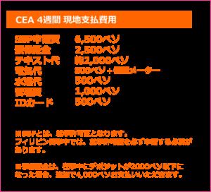 1ヶ月 セブ島留学費用 CEA 現地支払費用