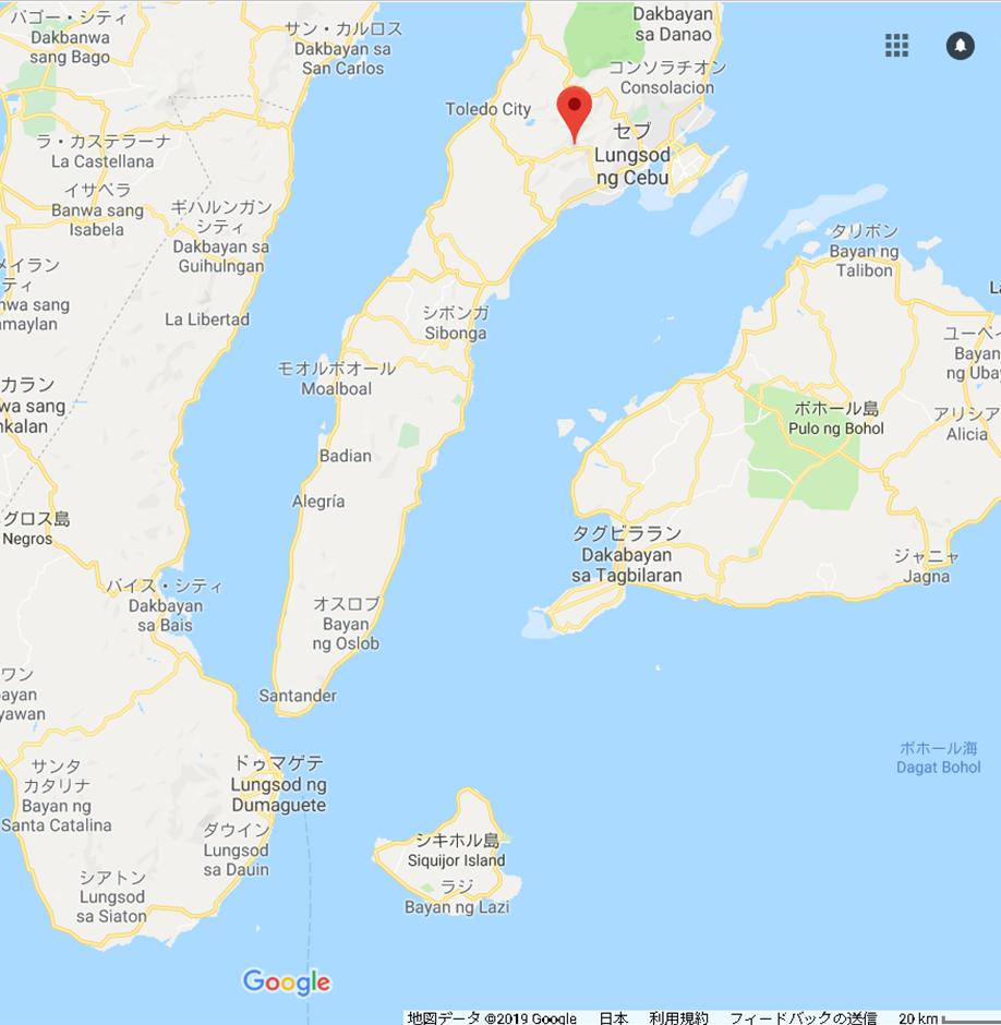 オスロブへの行き方 セブ島 地図 拡大