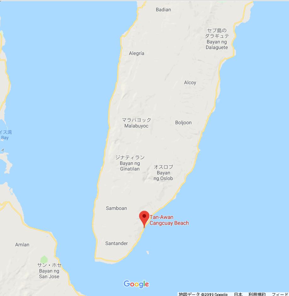 オスロブへの行き方 セブ島 オスロブ 地図 拡大 Tan-Awan